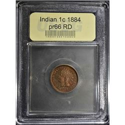 1884 INDIAN HEAD CENT  USCG PR 66 RED