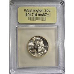 1947-D WASHINGTON QUARTER USCG SUPERB GEM+