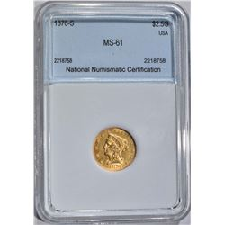 1876-S $2.50 GOLD LIBERTY  NNC CH BU