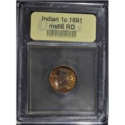 1891 INDIAN HEAD CENT  USCG GEM BU RD