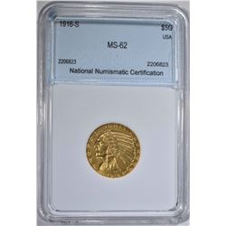 1916-S $5.00 GOLD INDIAN HEAD