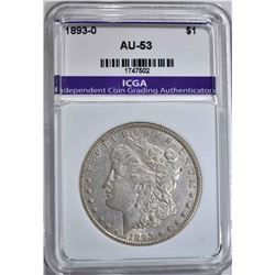 1893-O MORGAN DOLLAR  ICGA AU+