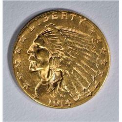1914-D $2 1/2 GOLD INDIAN HEAD CH BU