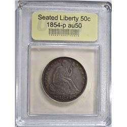 1854 SEATED LIBERTY HALF DOLLAR W/ ARROWS  USCG AU