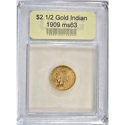 1909 $2 1/2 GOLD INDIAN HEAD  USCG CH BU
