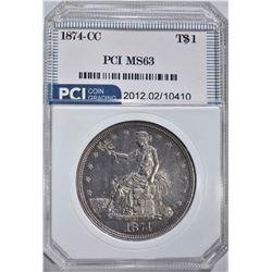 1874-CC TRADE DOLLAR  PCI CH BU