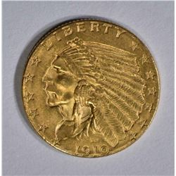 1910 $2.50 GOLD INDIAN HEAD  CH BU