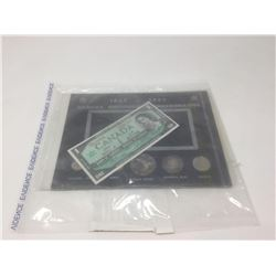 Evidence Bag Canada 1867-1967 Centennial Commemorative Coin Set  Bank of Canada Dollar Bill