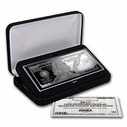4 oz .999 Pure Silver Bar - 2017 $100 Bill (W/Box & COA)