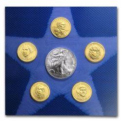 2007 U.S. Mint Uncirculated Dollar Set (w/Burnished Silver Eagle) 6 Pcs