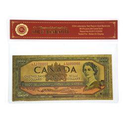 BOC $1,000 24kt Gold Leaf Note. Certified.