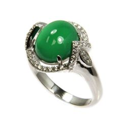Ladies .925 Silver Jade and Swarovski Element Ring