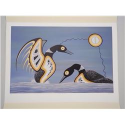 Barry Peters - Litho 'MATING DISPLAY, LOONS'' Limi