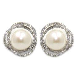 Ladies .925 Silver Swarovski Element and Pearl Ear
