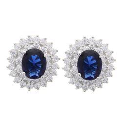 Ladies .925 Silver Sapphire Blue Swarovski Element