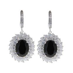 Ladies .925 Silver Black Swarovski Element Cluster