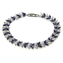 Ladies .925 Silver Sapphire Blue and Clear Swarovs
