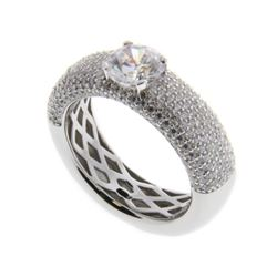 Ladies .925 Silver Swarovski Element Ring. Size 6.