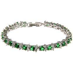 Ladies .925 Silver Emerald Green Swarovski Element