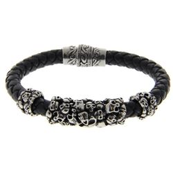 Gents Leather and Metal, Magnetic Clasp Bracelet