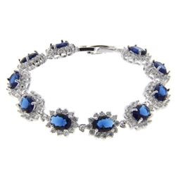 Ladies .925 Silver Sapphire Blue Swarovski Element