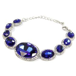 Ladies 9 Oval Sapphire Blue and Clear Swarovski El