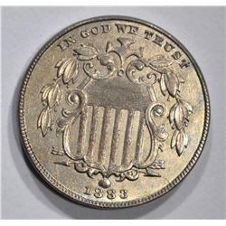 1883 SHIELD NICKEL, CH BU+