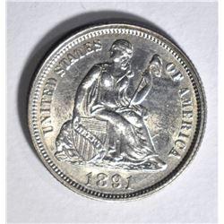 1891 SEATED DIME, AU/BU