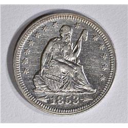 1853 ARROWS & RAYS SEATED QUARTER, AU