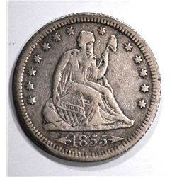 1855-S ARROWS SEATED QUARTER, XF  KEY DATE