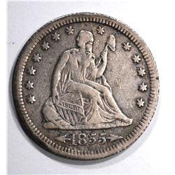 1855-S ARROWS SEATED QUARTER, XF  KEY DATE