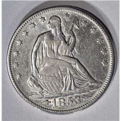 1853 ARROWS-RAYS SEATED HALF DOLLAR