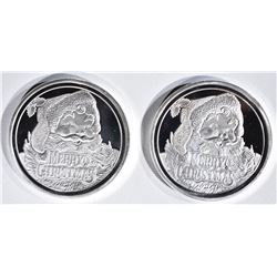 2-SANTA 2018 ONE OUNCE .999 SILVER ROUNDS
