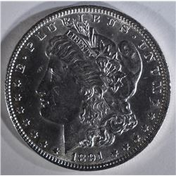 1891 MORGAN DOLLAR BU LIGHT SCRATCH OBV.