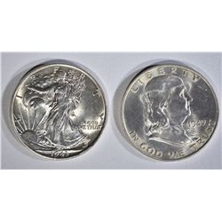 1943 WALKING LIBERTY HALF AND 1949-D FRANKLIN HALF