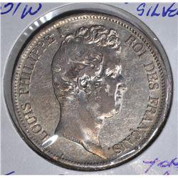 1831 W SILVER 5FRANCS FRANCE  NICE AU