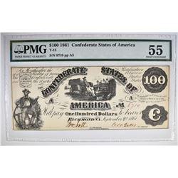 1861 $100 CONFEDERATE STATES OF AMERICA