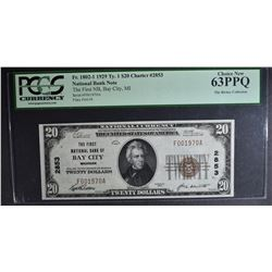 1929 $20 NATIONAL CURRENCY TY.1 PCGS63 PPQ