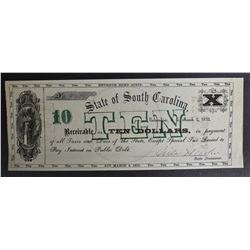 1872 $10 STATE OF SOUTH CAROLINA  GEM CU