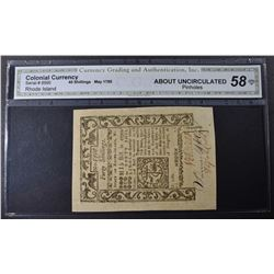 1785 40 SHILLINGS RHODE ISLAND COLONIAL CURRENCY