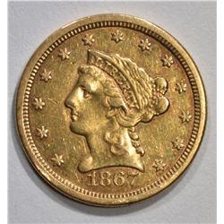 1867-S $2 1/2 GOLD LIBERTY  AU/UNC