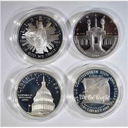 4 - PROOF COMMEM SILVER DOLLARS