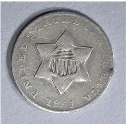 1851 3 CENT SILVER XF/AU