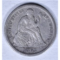 1862-S SEATED LIBERTY DIME XF MARKS