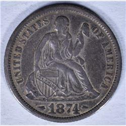 1874 SEATED LIBERTY DIME VF/XF