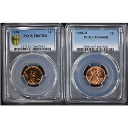 2 - PCGS LINCOLN CENTS:  1954 PR67RED &