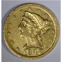 1847 D $5.00 GOLD LIBERTY  AU+
