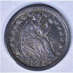 1847 SEATED LIBERTY HALF DIME BU