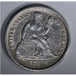 1869-S SEATED LIBERTY DIME AU