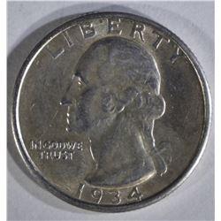 1934-D WASHINGTON QUARTER AU/BU